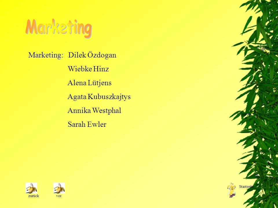 Marketing Marketing: Dilek Özdogan Wiebke Hinz Alena Lütjens