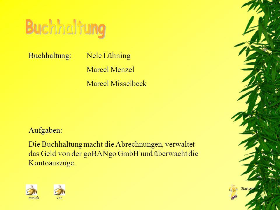 Buchhaltung Buchhaltung: Nele Lühning Marcel Menzel Marcel Misselbeck