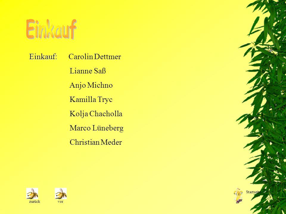 Einkauf Einkauf: Carolin Dettmer Lianne Saß Anjo Michno Kamilla Tryc