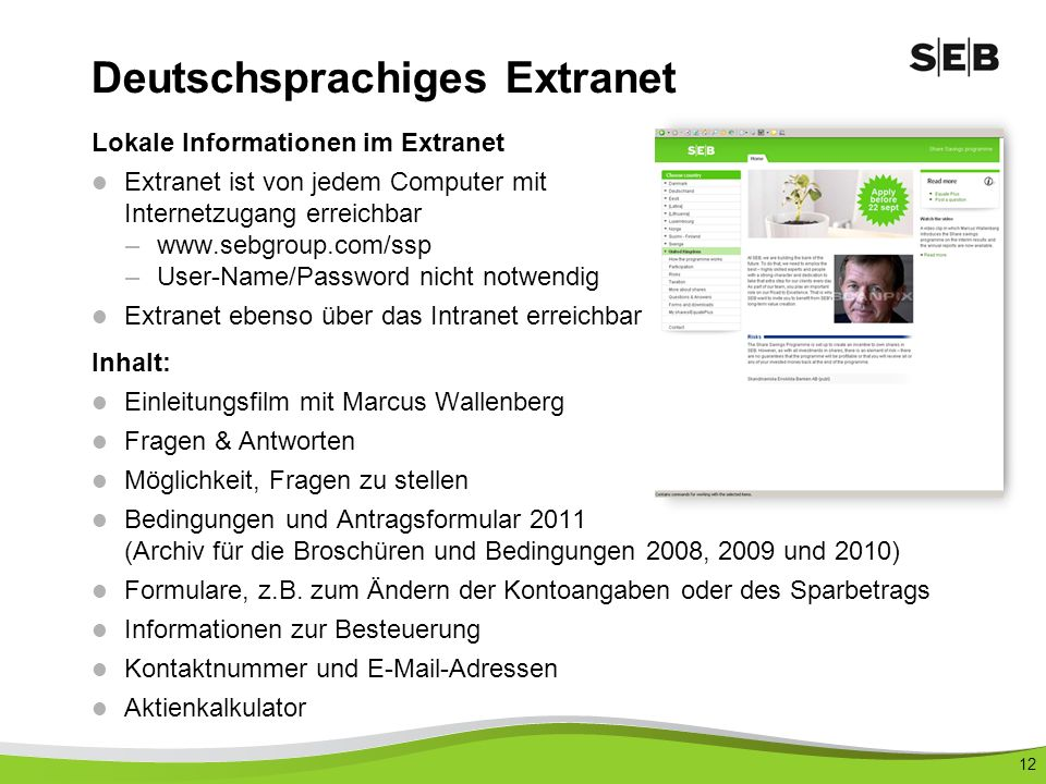 Deutschsprachiges Extranet