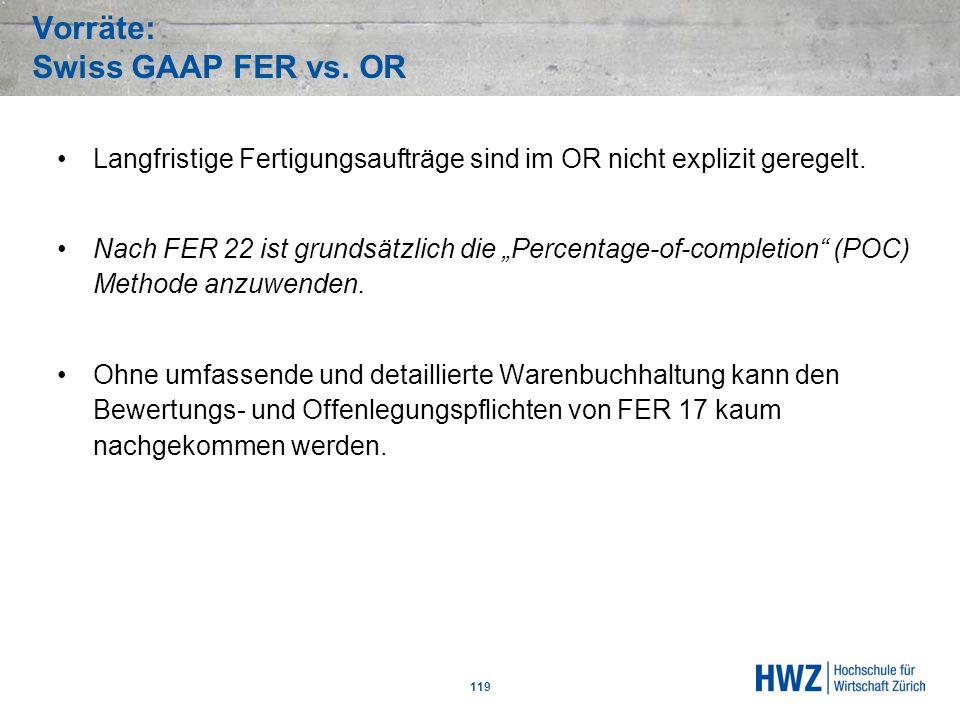 Vorräte: Swiss GAAP FER vs. OR