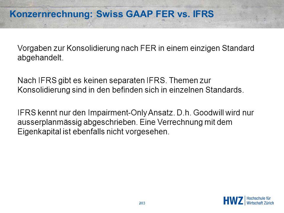 Konzernrechnung: Swiss GAAP FER vs. IFRS