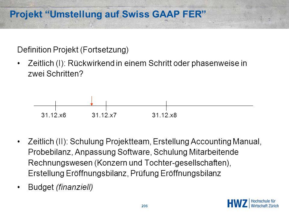 Projekt Umstellung auf Swiss GAAP FER