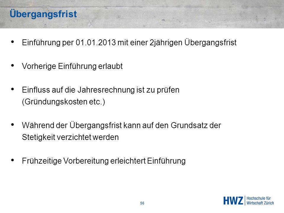 Übergangsfrist Einführung per 01.01.2013 mit einer 2jährigen Übergangsfrist. Vorherige Einführung erlaubt.