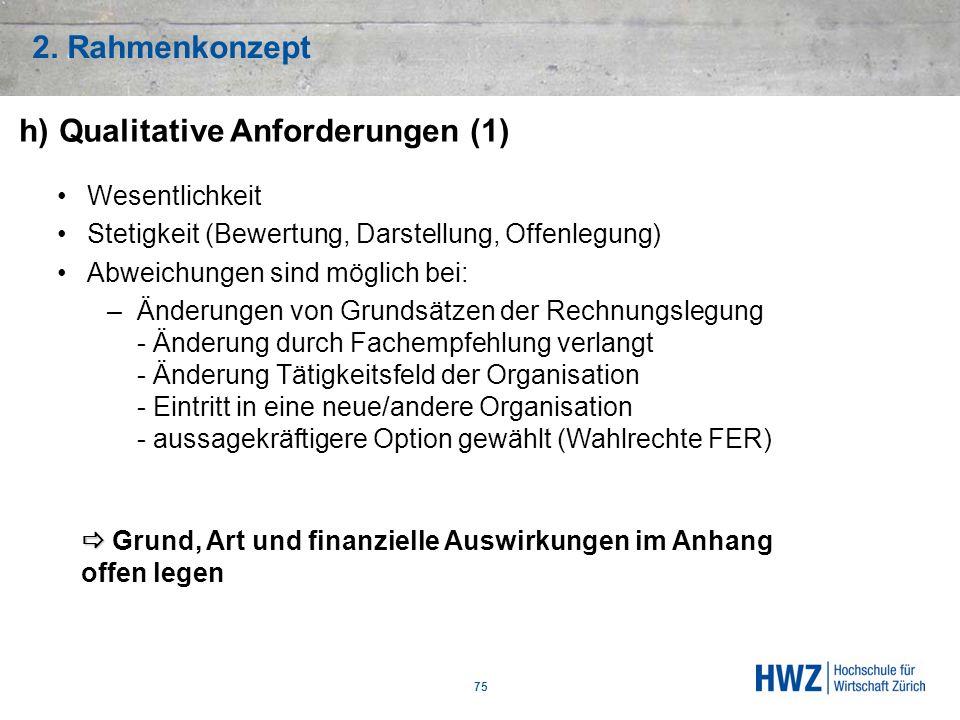 h) Qualitative Anforderungen (1)