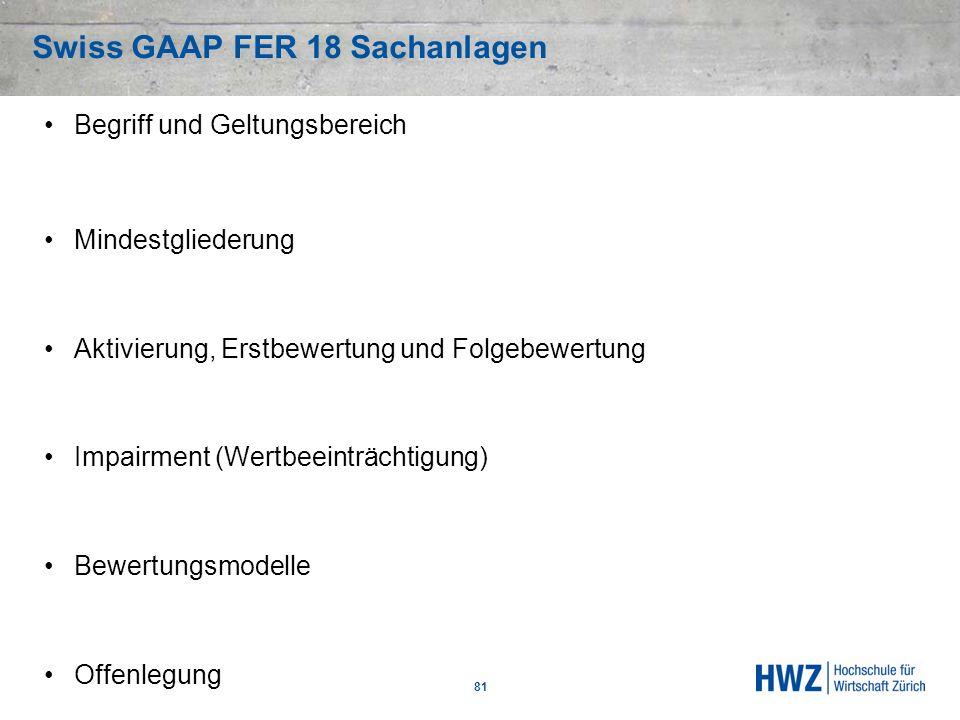 Swiss GAAP FER 18 Sachanlagen
