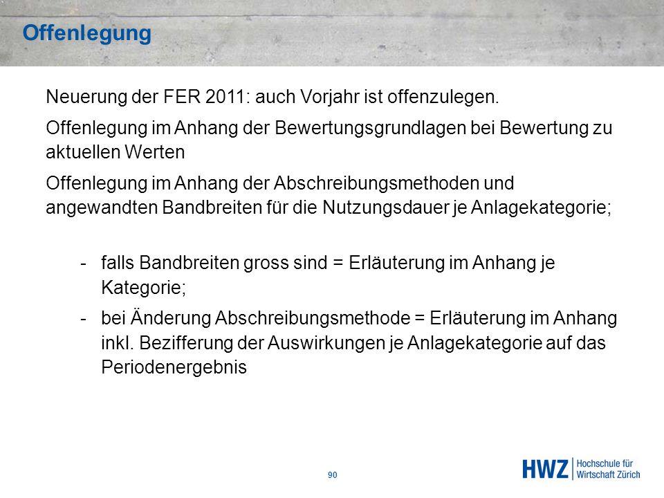 Offenlegung Neuerung der FER 2011: auch Vorjahr ist offenzulegen.