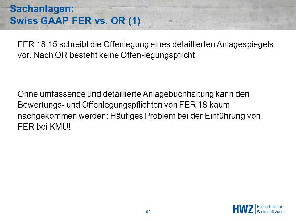Sachanlagen: Swiss GAAP FER vs. OR (1)