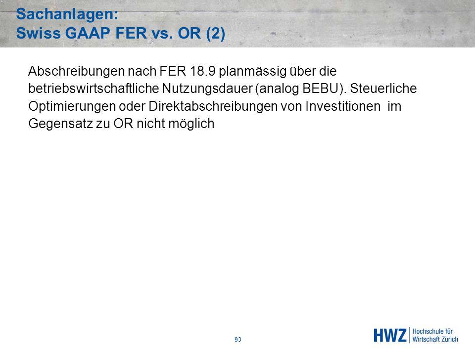 Sachanlagen: Swiss GAAP FER vs. OR (2)