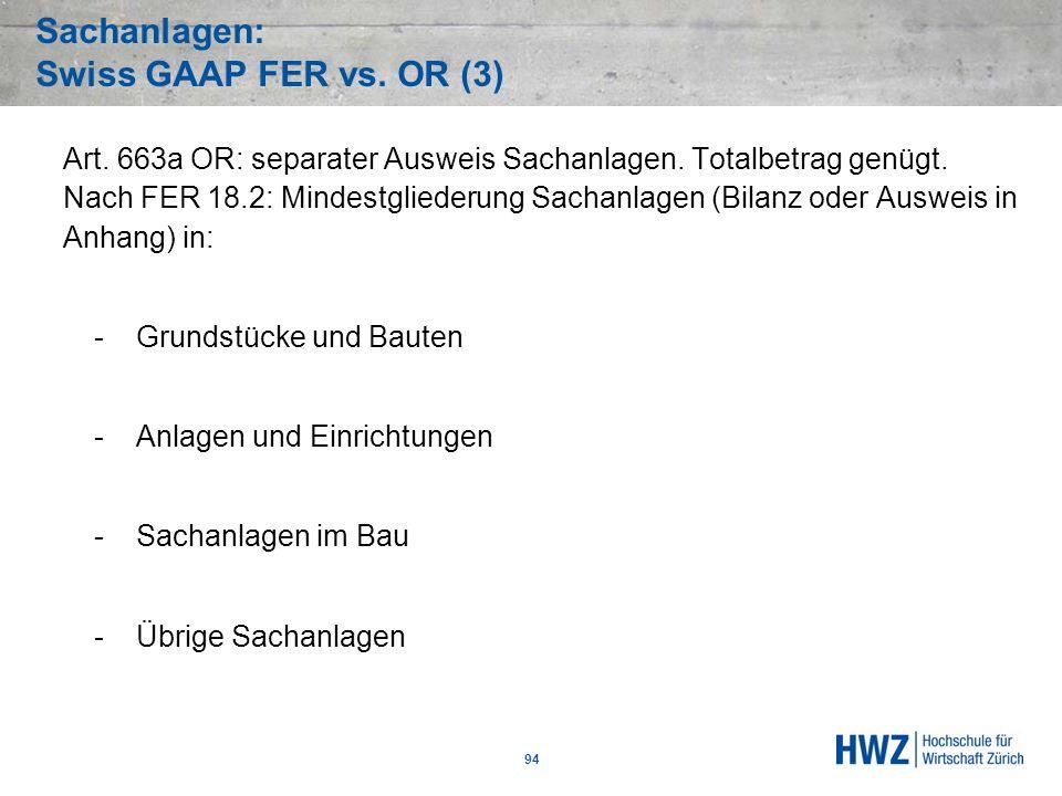 Sachanlagen: Swiss GAAP FER vs. OR (3)