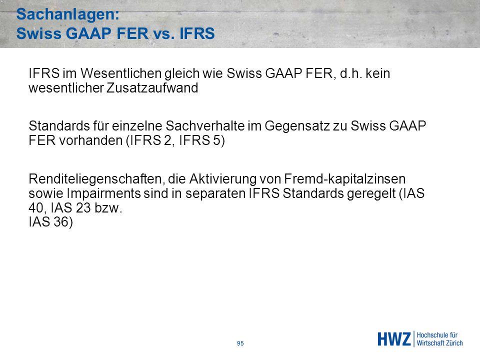 Sachanlagen: Swiss GAAP FER vs. IFRS