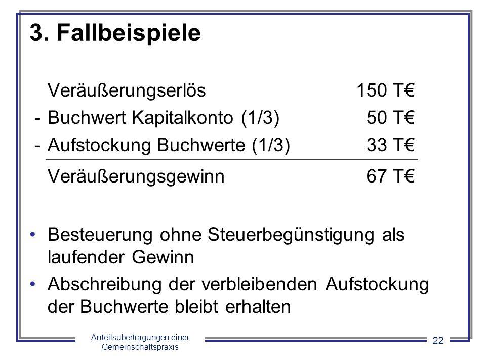 3. Fallbeispiele Veräußerungserlös 150 T€