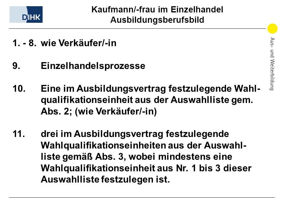 Kaufmann/-frau im Einzelhandel Ausbildungsberufsbild