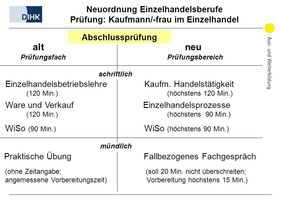 Neuordnung Einzelhandelsberufe Prüfung: Kaufmann/-frau im Einzelhandel