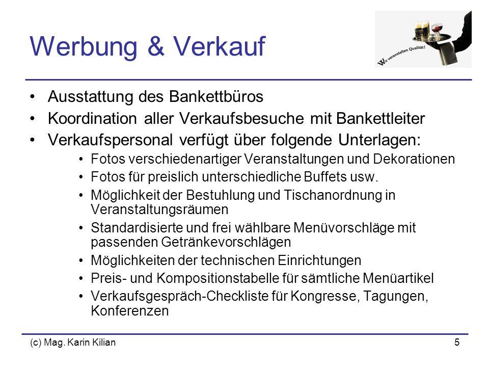 Werbung & Verkauf Ausstattung des Bankettbüros