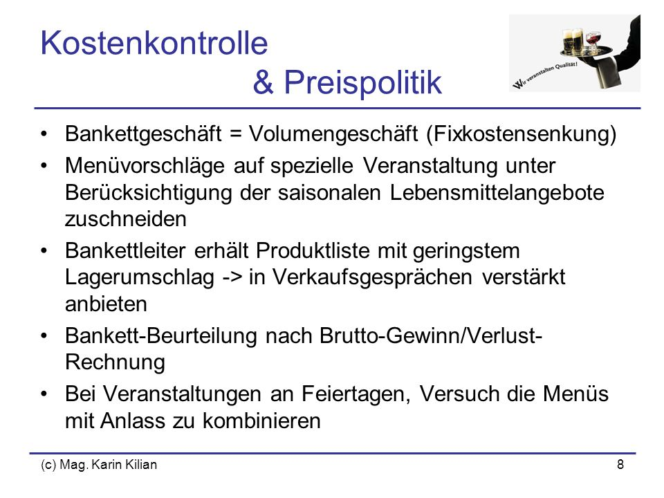 Kostenkontrolle & Preispolitik