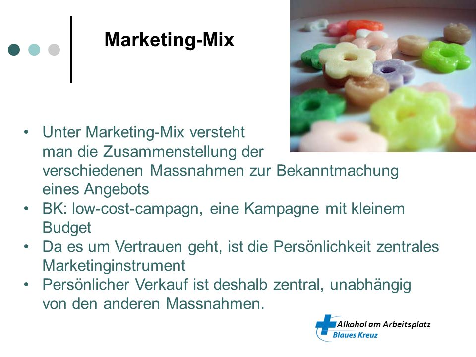 Marketing-Mix Unter Marketing-Mix versteht man die Zusammenstellung der verschiedenen Massnahmen zur Bekanntmachung eines Angebots.