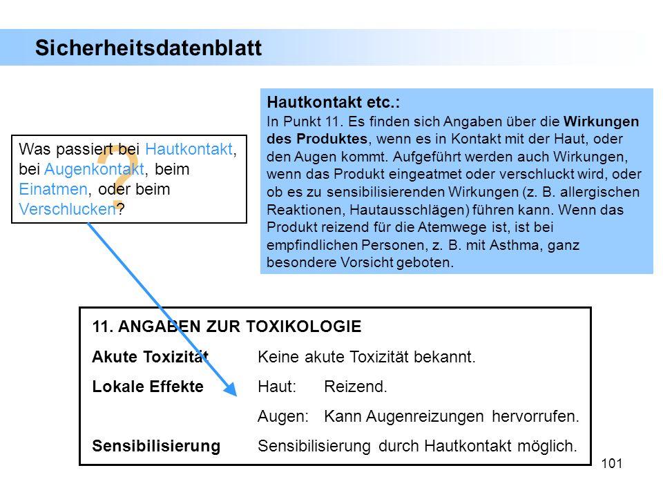 Sicherheitsdatenblatt Hautkontakt etc.:
