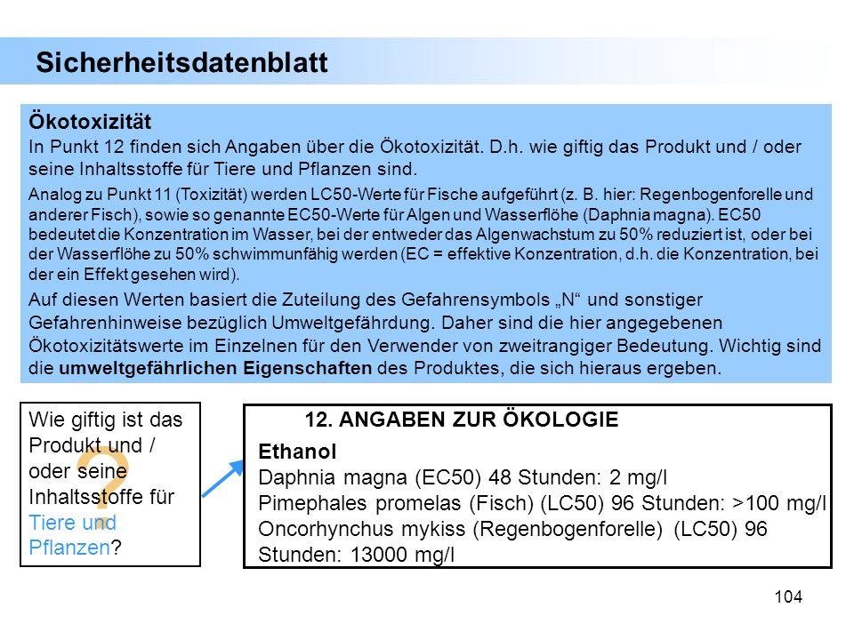 Sicherheitsdatenblatt Ökotoxizität