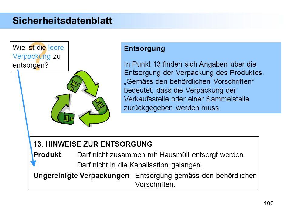 Sicherheitsdatenblatt Wie ist die leere Verpackung zu entsorgen