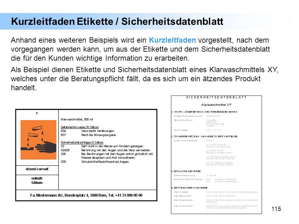 Kurzleitfaden Etikette / Sicherheitsdatenblatt