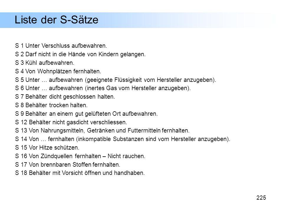 Liste der S-Sätze S 1 Unter Verschluss aufbewahren.