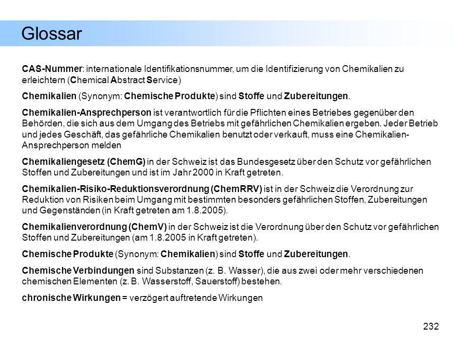 Glossar CAS-Nummer: internationale Identifikationsnummer, um die Identifizierung von Chemikalien zu erleichtern (Chemical Abstract Service)