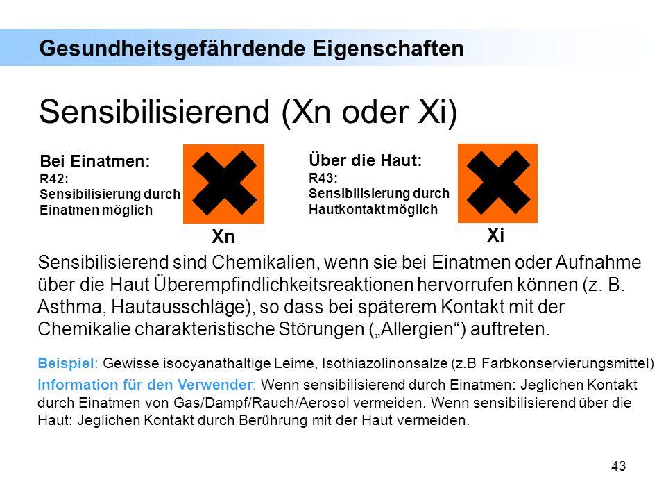 Sensibilisierend (Xn oder Xi)