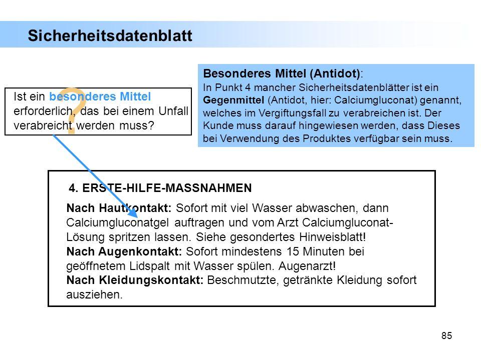 Sicherheitsdatenblatt Besonderes Mittel (Antidot):