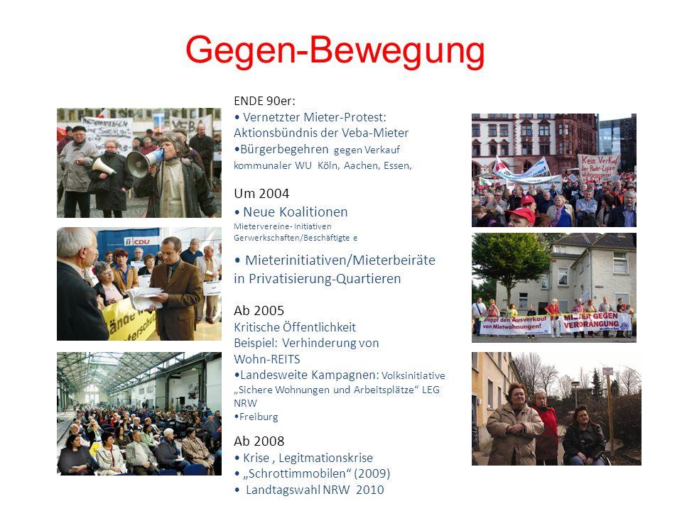 Gegen-BewegungENDE 90er: Vernetzter Mieter-Protest: Aktionsbündnis der Veba-Mieter.