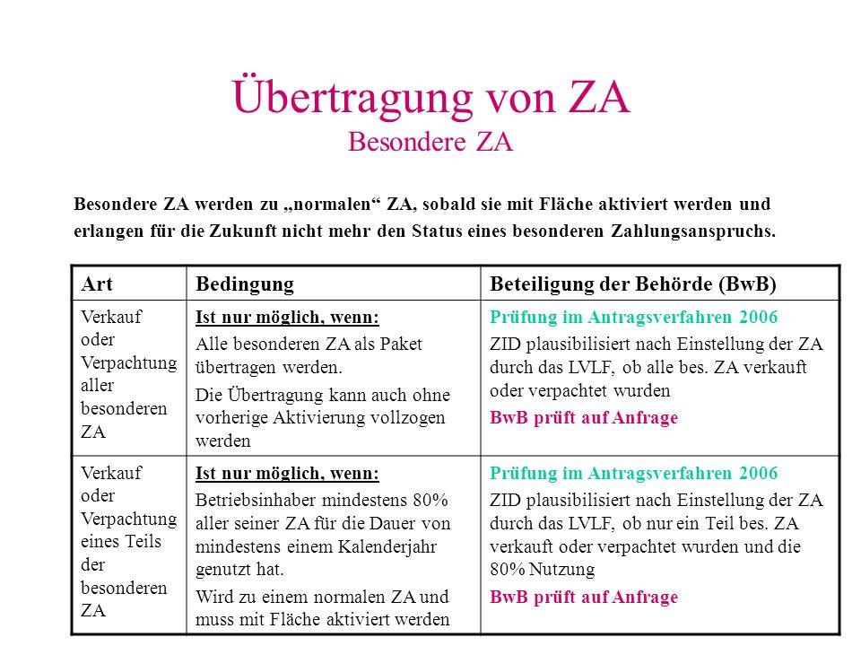 Übertragung von ZA Besondere ZA
