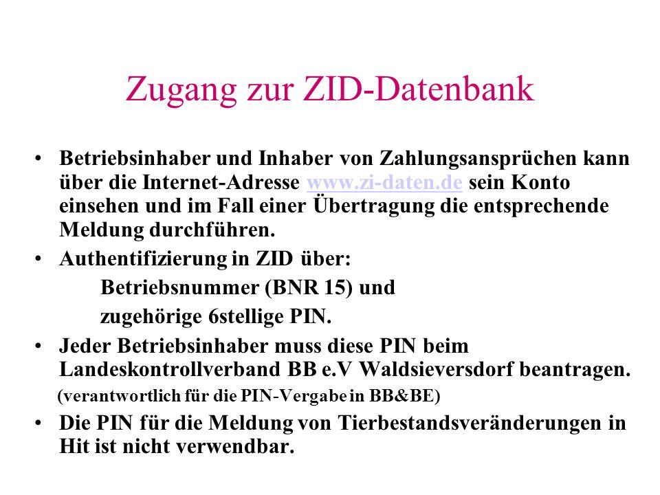 Zugang zur ZID-Datenbank