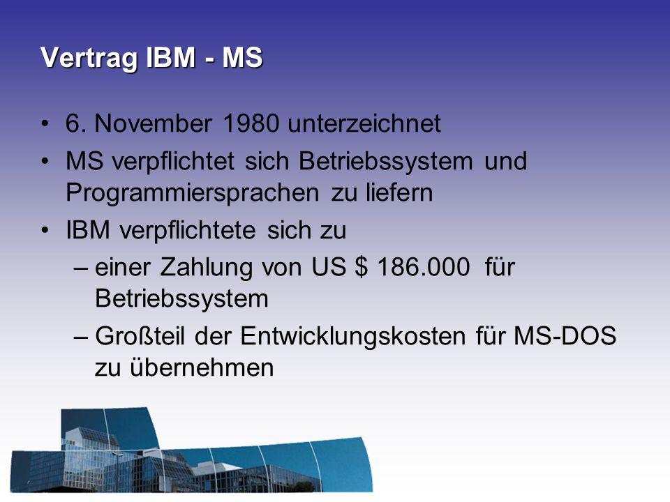 Vertrag IBM - MS 6. November 1980 unterzeichnet