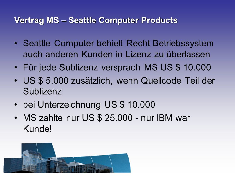 Vertrag MS – Seattle Computer Products