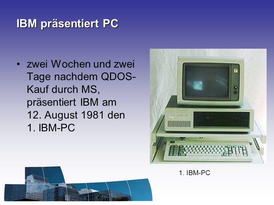 IBM präsentiert PC zwei Wochen und zwei Tage nachdem QDOS-Kauf durch MS, präsentiert IBM am 12. August 1981 den 1. IBM-PC.