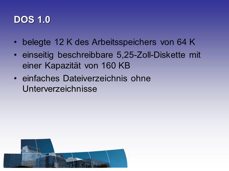 DOS 1.0 belegte 12 K des Arbeitsspeichers von 64 K