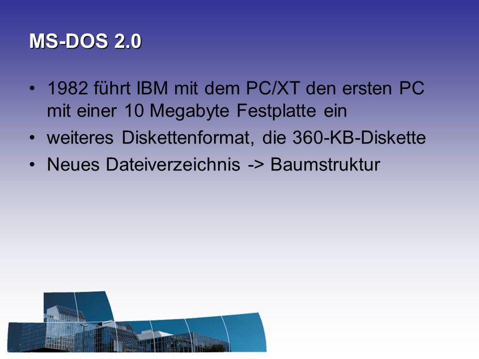MS-DOS 2.0 1982 führt IBM mit dem PC/XT den ersten PC mit einer 10 Megabyte Festplatte ein. weiteres Diskettenformat, die 360-KB-Diskette.