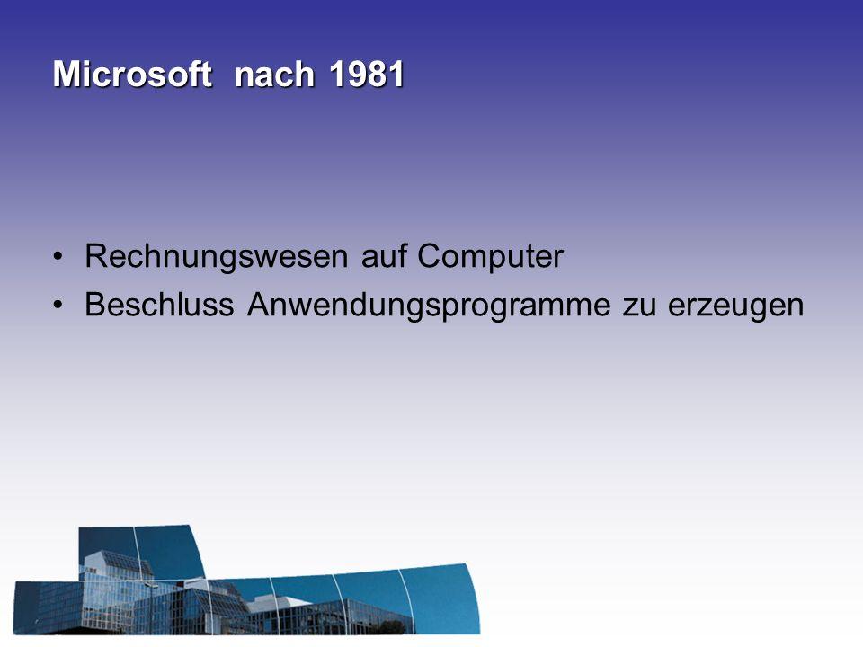 Microsoft nach 1981 Rechnungswesen auf Computer