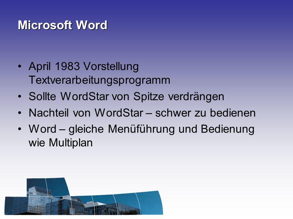Microsoft Word April 1983 Vorstellung Textverarbeitungsprogramm