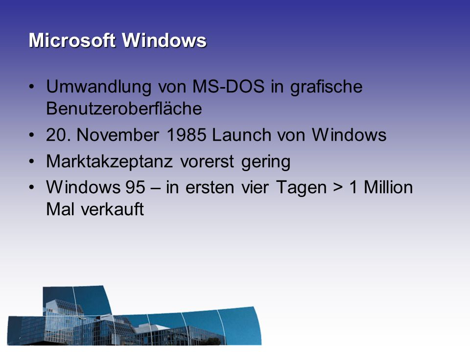 Microsoft Windows Umwandlung von MS-DOS in grafische Benutzeroberfläche. 20. November 1985 Launch von Windows.
