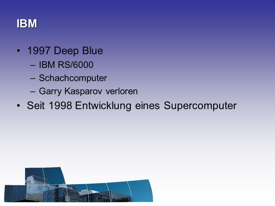 IBM 1997 Deep Blue Seit 1998 Entwicklung eines Supercomputer