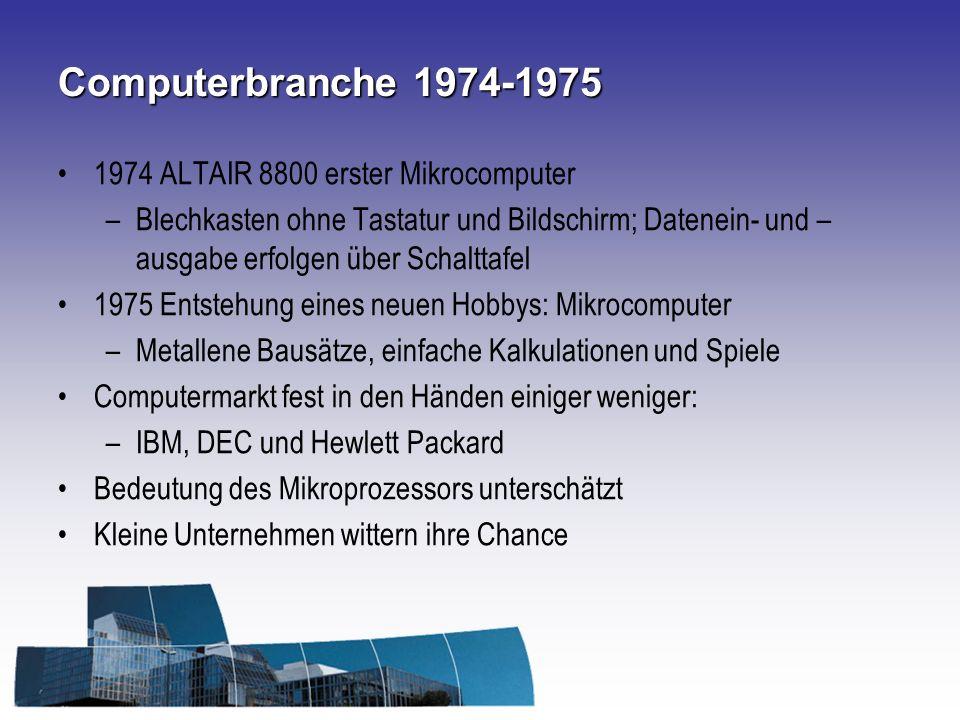 Computerbranche 1974-1975 1974 ALTAIR 8800 erster Mikrocomputer