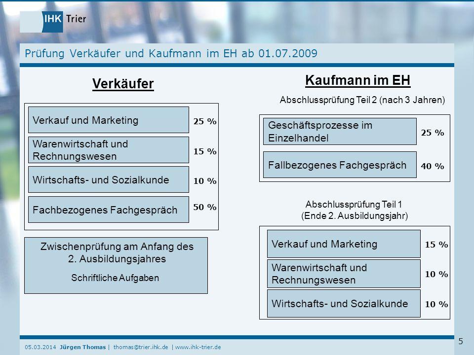 Prüfung Verkäufer und Kaufmann im EH ab 01.07.2009
