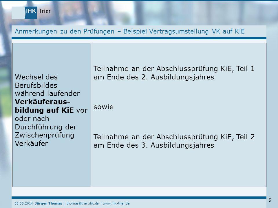 Anmerkungen zu den Prüfungen – Beispiel Vertragsumstellung VK auf KiE