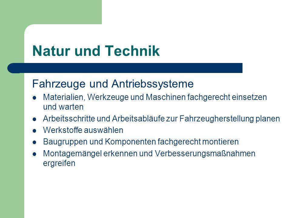 Natur und Technik Fahrzeuge und Antriebssysteme