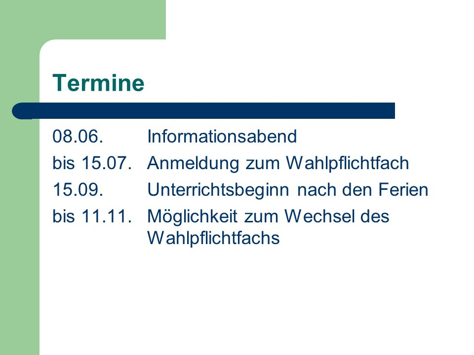 Termine 08.06. Informationsabend