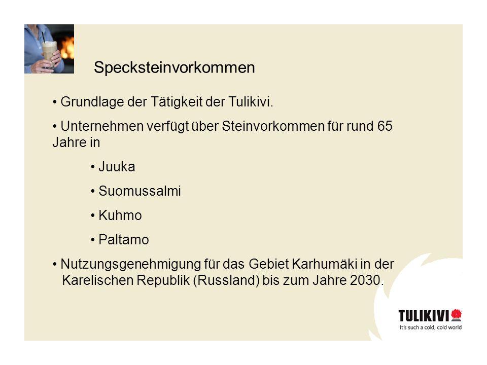 Specksteinvorkommen Grundlage der Tätigkeit der Tulikivi.