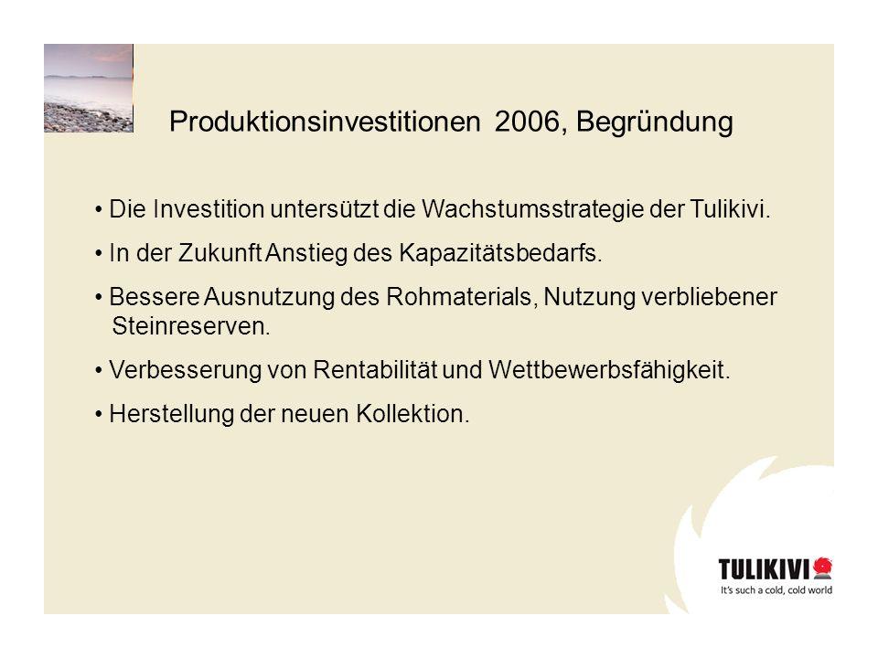 Produktionsinvestitionen 2006, Begründung