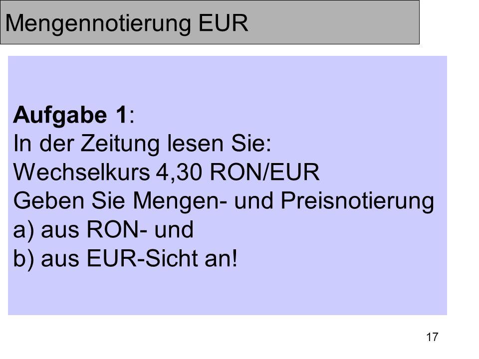 Mengennotierung EUR