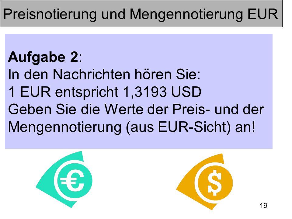 Preisnotierung und Mengennotierung EUR